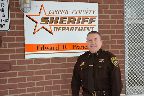 Jasper County Sheriff Ed Francis poses outside his department. Francis plans to retire this year after the election.