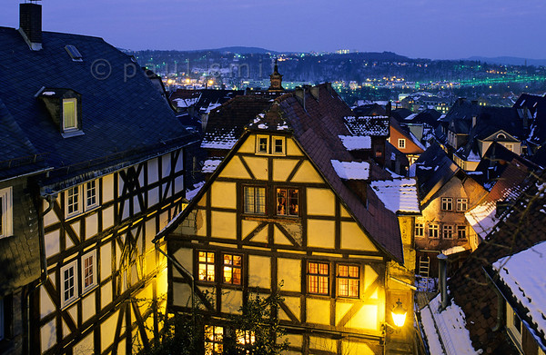 [GERMANY.HESSEN 11017] 'Marburg by night.'  Marburg is one of the smallest university cities of Germany and thanks to its students and to its mainly intact medieval towncenter it is a very pleasant city to live in and to visit. Photo Paul Smit.