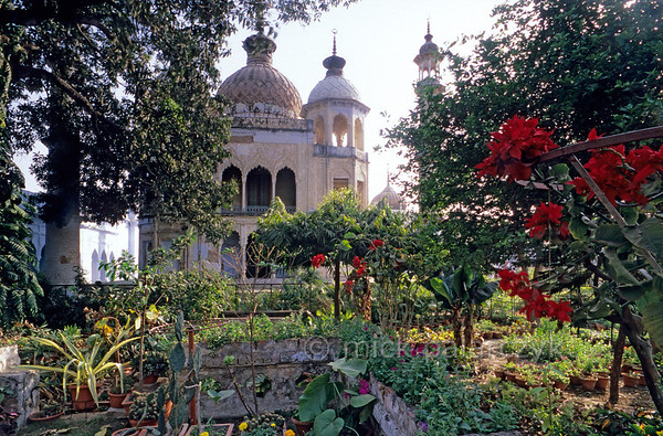 [INDIA.UTARPRADESH 27183] 'Garden in Lucknow.'  	A lush garden in the Hussainabad Imambara in Lucknow offers a view of the mausoleum that Muhammad Ali Shah built in 1837 for one of his relatives. Photo Mick Palarczyk.