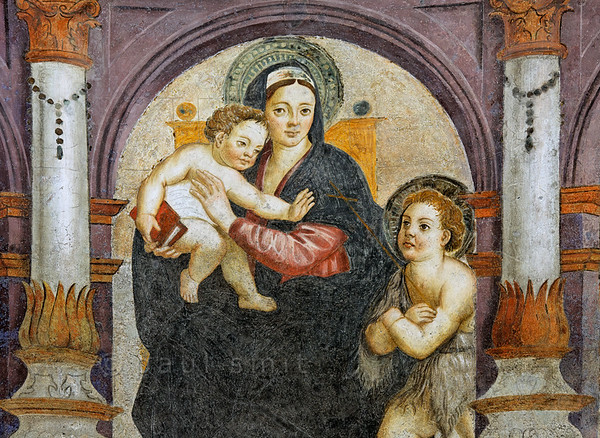 [ITALY.VALLEDAOSTA 28494 'Madonna with child in Aosta's cathedral.'  	In the interior of Aosta's cathedral a 16th century fresco in the chapel of Santa Lucia shows a madonna with child and the infant John the Baptist. Photo Paul Smit.