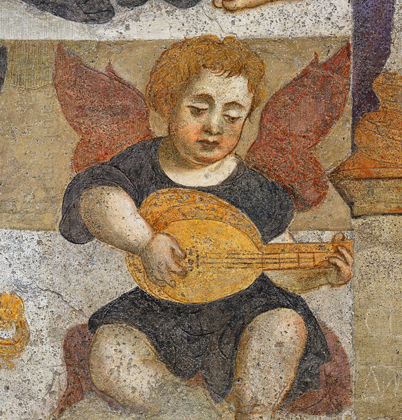 [ITALY.VALLEDAOSTA 28495 'Angel in Aosta's cathedral.'  	In the interior of Aosta's cathedral a 16th century fresco in the chapel of Santa Lucia shows an angel playing a string instrument. Photo Paul Smit.