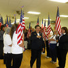 """National President of the Ladies Auxiliary to the VFW Armithea """"Sissy"""" Borel walks down the aisle of honor at a dinner at VFW Post 1769 in Effingham. Borel is on a nationwide tour after being elected president of the organization in July."""