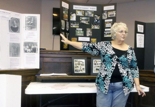Charla Fischbach of Shelby County talks about her Tipsword ancestors during the monthly local history presentation at the Effingham County Cultural Center and Museum meeting room.