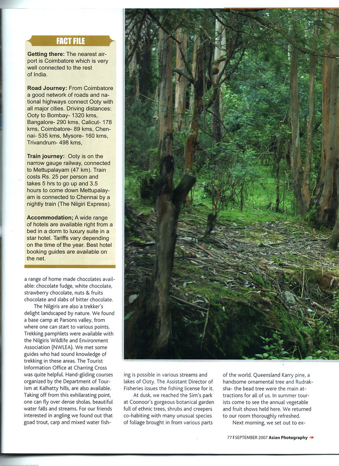 """Asian Photography September 2007 <a href=""""http://www.asianphotographyindia.com/"""">http://www.asianphotographyindia.com/</a> Travel Feature Article """"Queen of the Hillstations - Ooty"""" by Anu & Suchit Nanda<br /> <br /> You can read the full article with full size images at: <a href=""""http://suchit.net/writing/ooty2007.htm"""">http://suchit.net/writing/ooty2007.htm</a>"""