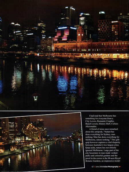 "Asian Photography June 2008 <a href=""http://www.asianphotographyindia.com/"">http://www.asianphotographyindia.com/</a> Travel Feature Article ""Marvelous Melbourne"" on Melbourne, Australia by Anu (Arundhathi) & pictures by Suchit Nanda. <br /> <br /> Asian Photography is India's premier and oldest photography magazine. <br /> <br /> You can read the full article with full size images at: <a href=""http://suchit.net/writing/melbourne2008.htm"">http://suchit.net/writing/melbourne2008.htm</a>"