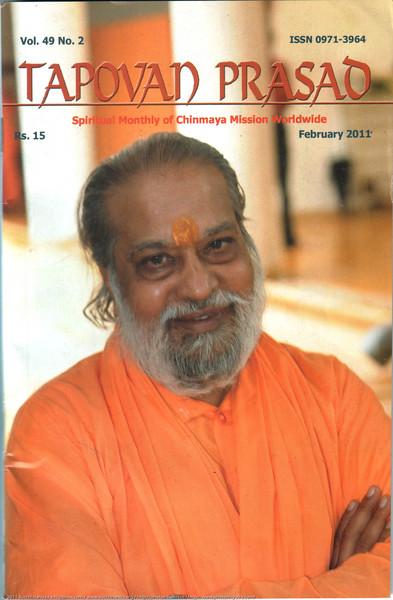Cover page image of Swami Purushottamanandaji for Tapovan Prasad Feb 2011 of Chinmaya Mission.