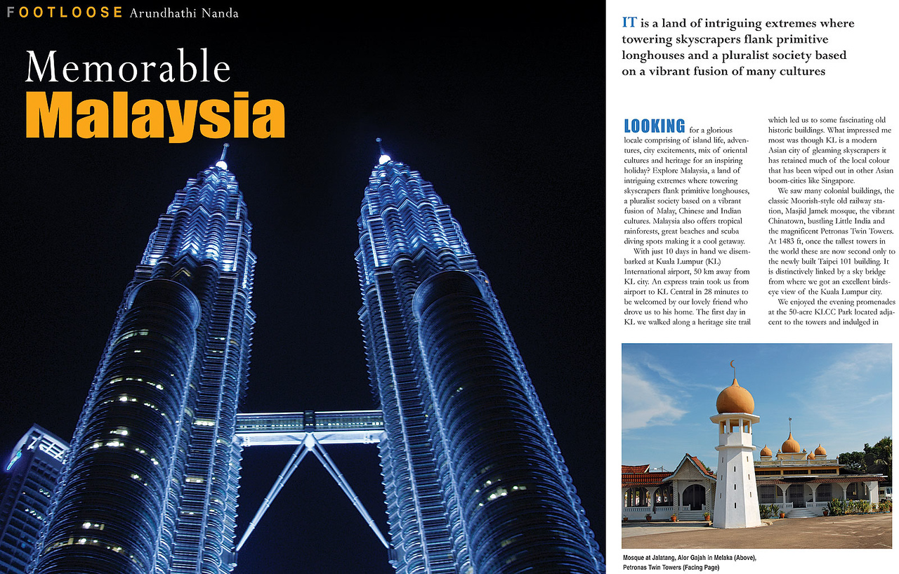 """Footloose: """"Memorable Malaysia"""" article by Anu (Arundhathi) and pictures by Suchit (Nanda) in the BTW Magazine (By The Way) 03rd Sept 2007 issue. <br /> <a href=""""http://www.btwmag.com/"""">http://www.btwmag.com/</a> <br /> <br /> Article can be read at: <a href=""""http://suchit.net/writing/index.html"""">http://suchit.net/writing/index.html</a> <br /> <a href=""""http://www.btwmag.com/03_09_07/pg17.asp"""">http://www.btwmag.com/03_09_07/pg17.asp</a><br /> <br /> Large size image of the Twin Towers, KL, Malaysia can be seen here: <a href=""""http://photos.suchit.in/gallery/1132998/"""">http://photos.suchit.in/gallery/1132998/</a>"""