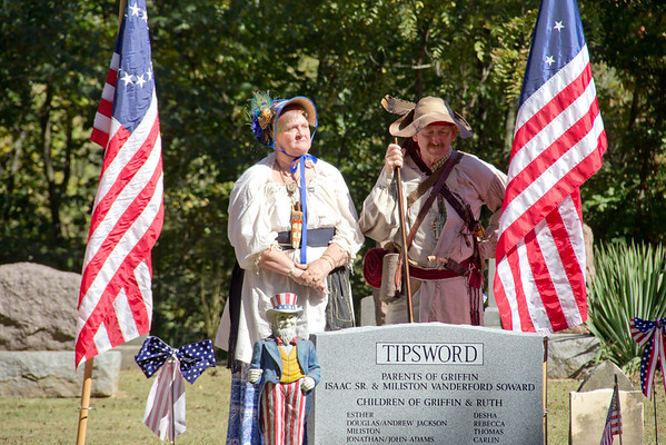 Ron and Carolyn Peters portray Ruth and Griffin Tipsword at a tombstone dedication in rural Beecher City Sunday afternoon. Griffin Tipsword is noted historically as the first white settler of Effingham County.