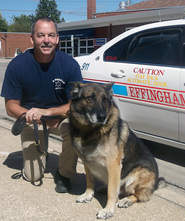 Effingham Police Cpl. Danny Lake and K-9 Kilo have worked together for nearly 10 years in both tracking and drug searches. Kilo is retiring in November but will remain with Lake and his family.