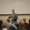 Journalist Ben Swann speaks to about 40 people at Illinois Freedom Fest 2013 in Effingham. Swann spoke on the divisions intrinsic to the two-party political system.