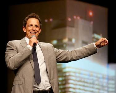 072312, Boston, MA - Comedian Seth Meyers entertains the Global Business Travel Association luncheon at the Boston Convention and Exhibition Center. Herald photo by Ryan Hutton