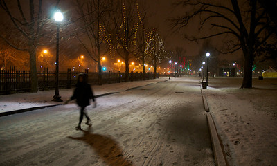 122912, Boston, MA - Snow blankets Boston Common Saturday night. Herald photo by Ryan Hutton