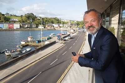 Graham Norton before going onstage at the second last night of the West Cork Literary Festival in the Maritime Hotel, Bantry, Co Cork. Pic Darragh Kane.