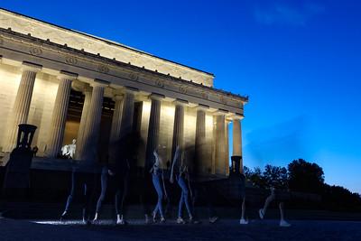 People visit Lincoln Memorial at night