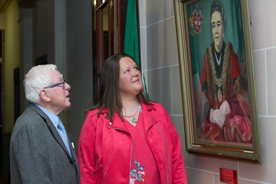 Dermot Doggett, brother of first female Lord Mayor of Cork Jane Dowdall and Jane Dowdall, Granddaughter of first female Lord Mayor of Cork at the unveiling in Cork City Council of the portrait of Senator Jane Dowdall, Cork's first female Lord Mayor. The portrait, by Soirle McCanna was unveiled as part of this year's celebration of 'Democracy for All - 100 Years of the Vote for Women' – the centenary of women securing the right to vote. PICTURE Darragh Kane