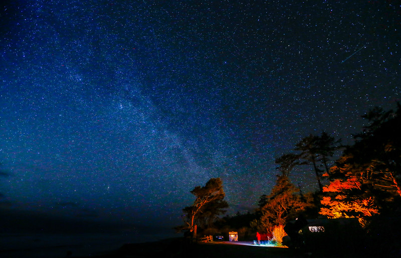 The Milky Way is visible in the night sky in a campground in Olympic National Park on April 1, 2016.