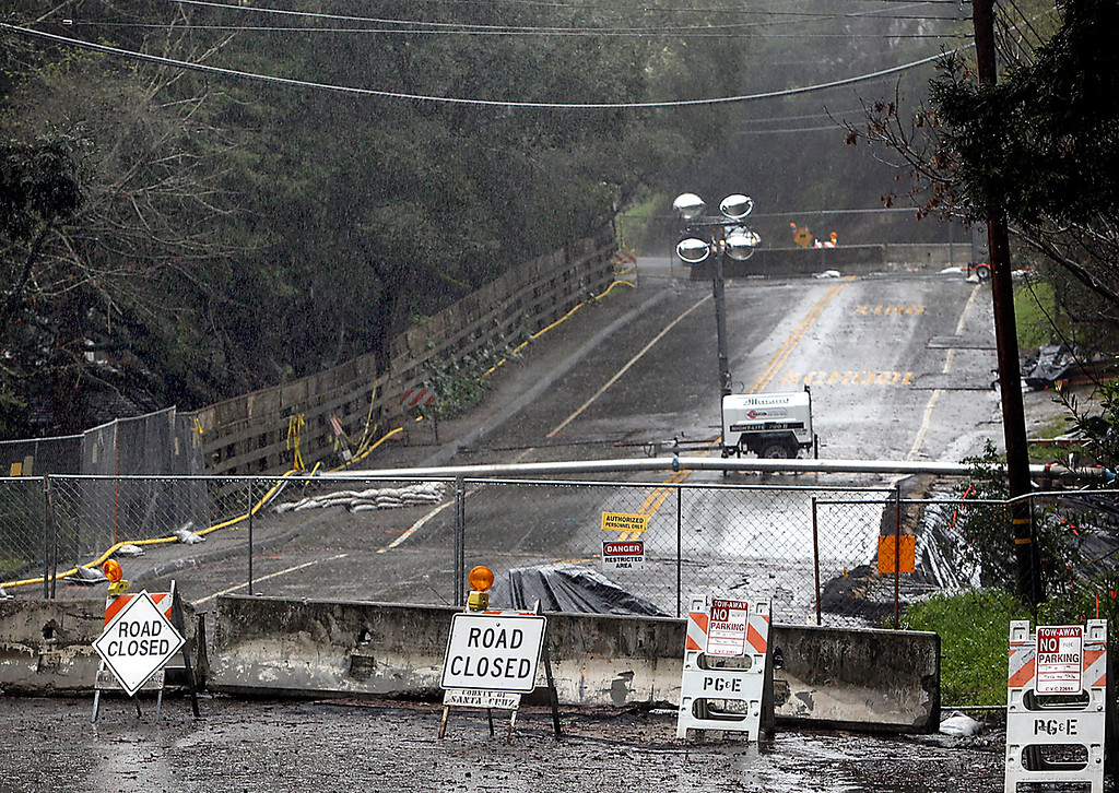 . Road closures at Vlanecia Road in Aptos caused by downed power lines prevented students and staff from attending Valenica Elementary on Friday. (Kevin Johnson -- Santa Cruz Sentinel)