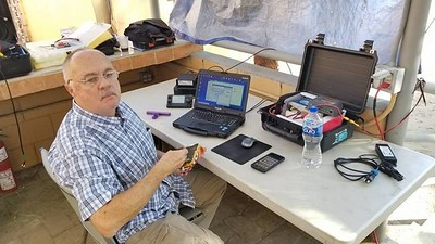 Me caught snacking. Portable Icom 7100 Winlink on solar.
