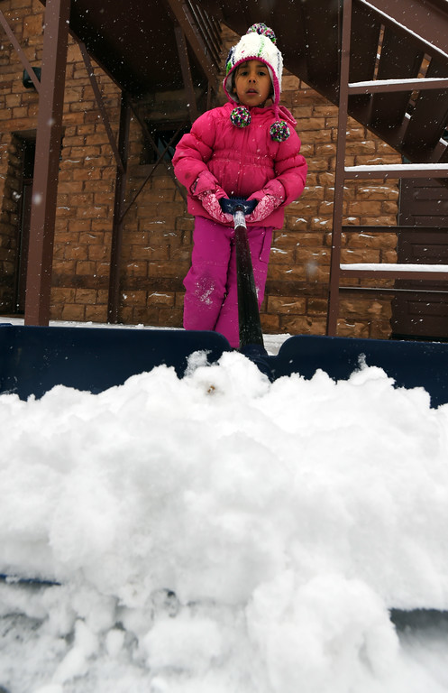 . Kimbella Clements, 5, shovels snow the Mapleton School during a February 10th snow in Boulder. Cliff Grassmick  Photographer  February 10, 2018