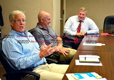 7/8/2015 Mike Orazzi | Staff Uniprop's Glenn Couch, Connecticut Portable Storage's Robert Robitaille along with Bristol Mayor Ken Cockayne during a speical meeting of the BDA committee announcing that the portable storage units company plans to buy the premier lot in the city's Middle Street industrial park for a 120,000-square-foot warehouse.