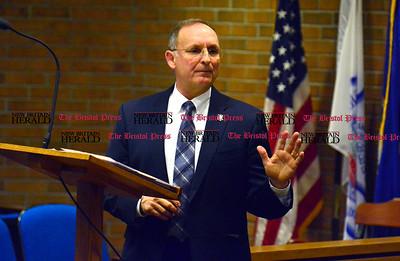 2/2/2016 Mike Orazzi | Staff State Senator Henri Martin while at the Plainville Municipal Center Tuesday night.