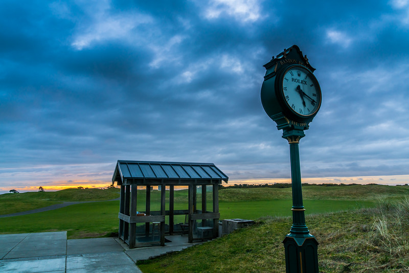 Walked around near the clubhouse after a 31-hole day, taking photos around the grounds as the light faded. Here's the starter shack at No. 1, Bandon Dunes.