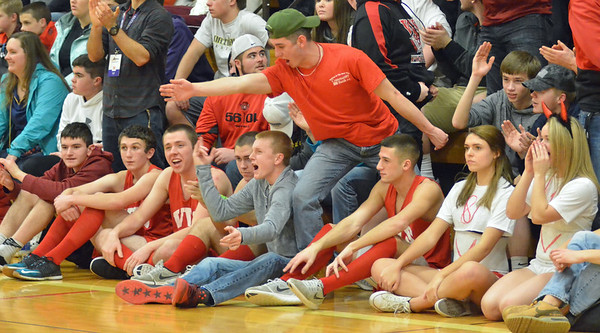 KYLE MENNIG - ONEIDA DAILY DISPATCH Vernon-Verona-Sherrill fans react to a play during a Section III Class B quarterfinal match against Oneida in Verona on Thursday, Feb. 9, 2017.