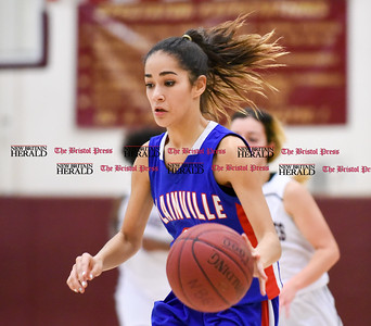 012417 Wesley Bunnell | Staff  Plainville girls basketball player Samantha Lozefski (2) in a game played on Jan 24 vs New Britain at New Britain High School.