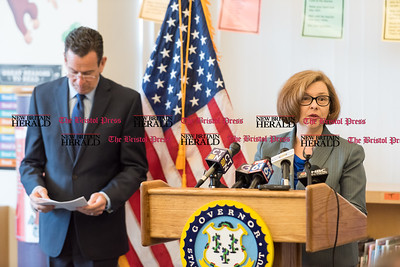 020617  Wesley Bunnell | Staff  Governor Dannel P. Malloy stands to the side as Commissioner of Education Dianna R. Wentzell speaks at the podium during a news conference on the upcoming budget proposal. The conference was held at Smalley Academy in New Britain on Feb 6.