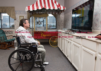 020617  Wesley Bunnell | Staff  Joe Orr watches tv inside of a common room area inside of the Autumn Lake Healthcare facility at New Britain.