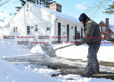 021317  Wesley Bunnell | Staff  Ed Johnson clears his driveway at his home on Route 173 in Newington on Feb. 13 after several recent snow storms have passed through.