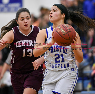 021317  Wesley Bunnell | Staff  Bristol Eastern girls basketball vs Bristol Central on Feb. 13 at Bristol Eastern High School. Miya Laprise (21) drives towards the basket.