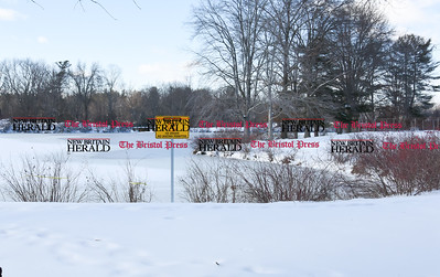 021317  Wesley Bunnell | Staff  Mill Pond in Newington with a no ice skating sign posted on Monday Feb. 13.