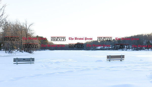 021317  Wesley Bunnell | Staff  Paper Goods Pond in Berlin has a posted no skating sign on Monday Feb. 13.