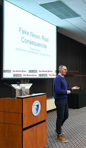021617  Wesley Bunnell | Staff  Buzzfeed's Media Editor Craig Silverman gave a presentation regarding the surge of fake news in online media on Thursday Feb. 16 at CCSU.