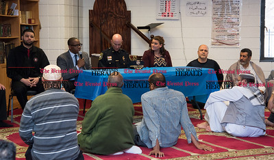022317  Wesley Bunnell | Staff  Mayor Erin Stewart along with other city officials spoke at the Islamic Association of New Britain on Feb. 24 regarding her support for the Muslim community. Taking turns speaking at the table are Alderman Kristian Rosado, Alderman Daniel Davis, Police Chief James Wardwell and Mayor Erin Stewart.