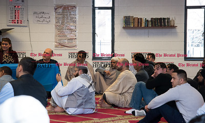 022317  Wesley Bunnell | Staff  Mayor Erin Stewart along with other city officials spoke at the Islamic Association of New Britain on Feb. 24 regarding her support for the Muslim community.