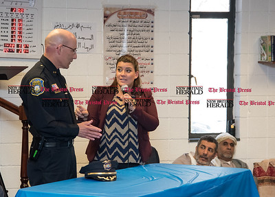 022317  Wesley Bunnell | Staff  Mayor Erin Stewart along with other city officials spoke at the Islamic Association of New Britain on Feb. 24 regarding her support for the Muslim community. Mayor Stewart speaks to the crowd along with Police Chief James Wardwell.