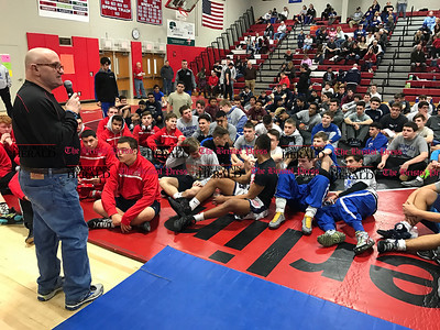 2/11/2017 Mike Orazzi | Staff The CCC wrestling tournament at Berlin High School Saturday.