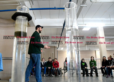 2/16/2017 Mike Orazzi | Staff Devin Chasse explains how the Bristol Water Treatment Plant works to students from the Chippens Hill Middle School during a tour Thursday morning.