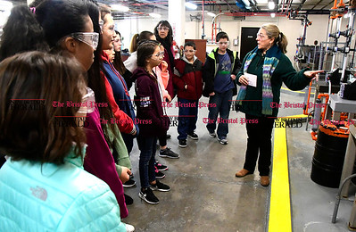 2/16/2017 Mike Orazzi | Staff Barbara Solla explains how the Bristol Water Treatment Plant works to students from the Chippens Hill Middle School during a tour Thursday morning.