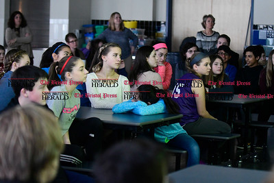 2/16/2017 Mike Orazzi | Staff Students listen to Debora D'Angelo at the West Bristol K-8 School during the Sandy Hook Promise Initiative program Thursday morning.