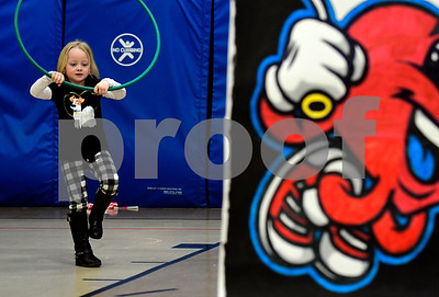 2/22/2017 Mike Orazzi | Staff Khloe Hyjek uses hula Hoop during  the Jump for Heart event works at the South Side School on Wednesday in Bristol.