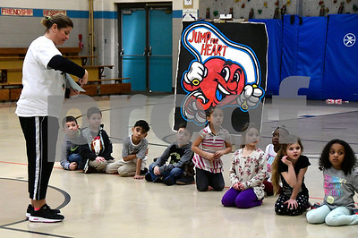 2/22/2017 Mike Orazzi | Staff Lisa Galske explains how the Jump for Heart event works at the South Side School on Wednesday in Bristol.