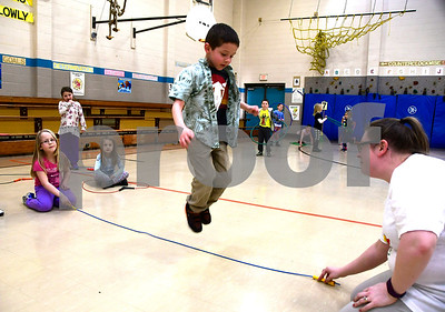 2/22/2017 Mike Orazzi | Staff Lucas Welburn during  the Jump for Heart event works at the South Side School on Wednesday in Bristol.