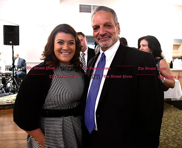 2/25/2017 Mike Orazzi   Staff Honorees New Britain Mayor Erin Stewart and Paul Salina, chief operating officer of the city school system, during the 2nd Annual Connie Wilson Collins Memorial Scholarship Fund Gala held at the Crystal Ballroom in New Britain Saturday night.