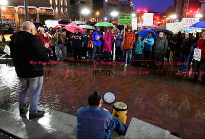 2/25/2017 Mike Orazzi   Staff Dan Durso during a candle light vigil and rally for the Affordable Care Act (ACA) and or Obamacare, in New Britain's Central Park Saturday evening.
