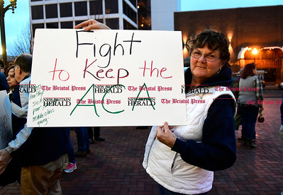 2/25/2017 Mike Orazzi   Staff Charlene Pease during a candle light vigil and rally for the Affordable Care Act (ACA) and or Obamacare, in New Britain's Central Park Saturday evening.