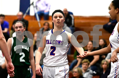 2/28/2017 Mike Orazzi | Staff St. Paul's Brigid Johndrow (2) during Tuesday night's Class M First Round State Girls Basketball Tournament with Griswold in Bristol.