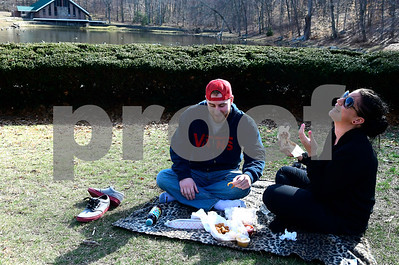 2/28/2017 Mike Orazzi | Staff Jay Farkas and Angie Boutote while having a picnic in Bristol Page Park Tuesday afternoon.  ** stand alone **